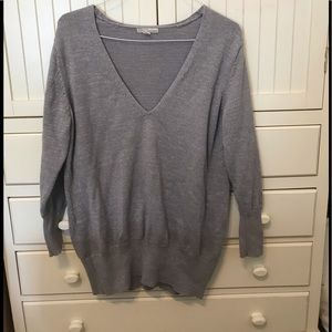 New York & Co. Metallic Silver V-Neck Sweater